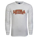 White Long Sleeve T Shirt-Loyola New Orleans Arched