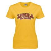 Ladies Gold T Shirt-Loyola New Orleans Arched