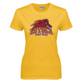 Ladies Gold T Shirt-Loyola Wolf Pack