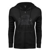 ENZA Ladies Black Fleece Full Zip Hoodie-Official Logo Glitter Graphite Soft
