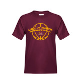 Youth Maroon T Shirt-Basketball Arched