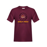 Youth Maroon T Shirt-Volleyball On Top