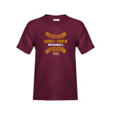 Youth Maroon T Shirt-Baseball Inside Laces