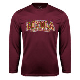 Performance Maroon Longsleeve Shirt-Loyola New Orleans Arched