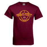 Maroon T Shirt-Basketball Arched