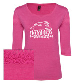 Ladies Dark Fuchsia Heather Tri Blend Lace 3/4 Sleeve Tee-Official Logo