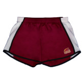 Ladies Maroon/White Team Short-Official Logo