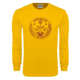 Gold Long Sleeve T Shirt-Loyola Seal