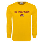 Gold Long Sleeve T Shirt-Go Wolf Pack