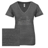 ENZA Ladies Graphite Melange V Neck Tee-Official Logo Glitter Silver Soft