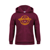 Youth Maroon Fleece Hoodie-Basketball Arched