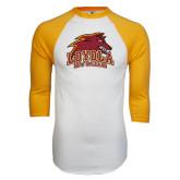 White/Gold Raglan Baseball T-Shirt-Official Logo