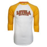White/Gold Raglan Baseball T-Shirt-Loyola New Orleans Arched