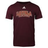 Adidas Maroon Logo T Shirt-Loyola New Orleans Arched