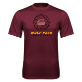 Performance Maroon Tee-Volleyball On Top