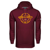 Under Armour Maroon Performance Sweats Team Hoodie-Basketball Arched