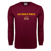 Maroon Long Sleeve T Shirt-Go Wolf Pack