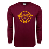 Maroon Long Sleeve T Shirt-Basketball Arched