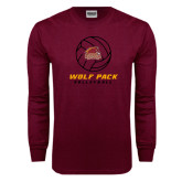 Maroon Long Sleeve T Shirt-Volleyball On Top
