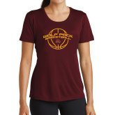 Ladies Performance Maroon Tee-Basketball Arched