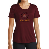 Ladies Performance Maroon Tee-Volleyball On Top