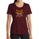 Ladies Performance Maroon Tee-Baseball Inside Laces