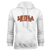 White Fleece Hoodie-Loyola New Orleans Arched