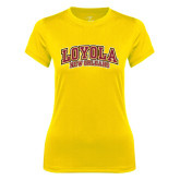Ladies Syntrel Performance Gold Tee-Loyola New Orleans Arched