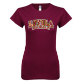 Next Level Ladies SoftStyle Junior Fitted Maroon Tee-Loyola New Orleans Arched