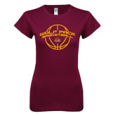 Next Level Ladies SoftStyle Junior Fitted Maroon Tee-Basketball Arched