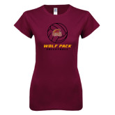 Next Level Ladies SoftStyle Junior Fitted Maroon Tee-Volleyball On Top