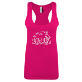 Next Level Ladies Raspberry Ideal Racerback Tank-Official Logo Glitter White Soft