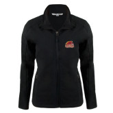 Ladies Black Softshell Jacket-Official Logo