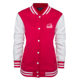 Ladies Pink Raspberry/White Fleece Letterman Jacket-Official Logo