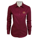 Ladies Maroon Twill Button Down Long Sleeve-Official Logo