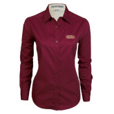 Ladies Maroon Twill Button Down Long Sleeve-Loyola New Orleans Arched