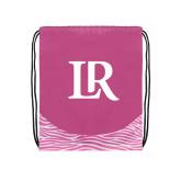 Nylon Zebra Pink/White Patterned Drawstring Backpack-Primary Mark