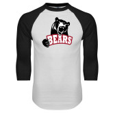 White/Black Raglan Baseball T Shirt-Bears