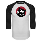 White/Black Raglan Baseball T Shirt-LR Bear