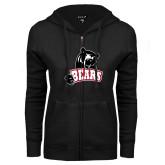 ENZA Ladies Black Fleece Full Zip Hoodie-Bears