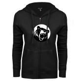 ENZA Ladies Black Fleece Full Zip Hoodie-LR Bear