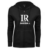 ENZA Ladies Black Fleece Full Zip Hoodie-Baseball