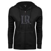 ENZA Ladies Black Fleece Full Zip Hoodie-LR Graphite Soft Glitter