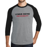 Grey/Black Tri Blend Baseball Raglan-Lenoir Rhyne University