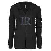 ENZA Ladies Black Light Weight Fleece Full Zip Hoodie-LR Graphite Soft Glitter