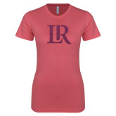 Next Level Ladies SoftStyle Junior Fitted Pink Tee-LR Pink Glitter