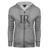 ENZA Ladies Grey Fleece Full Zip Hoodie-LR Graphite Soft Glitter