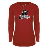 Ladies Syntrel Performance Cardinal Longsleeve Shirt-LR Bear