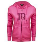 ENZA Ladies Fuchsia Fleece Full Zip Hoodie-LR Hot Pink Glitter