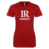 Next Level Ladies SoftStyle Junior Fitted Cardinal Tee-Baseball